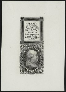 Sale Number 909, Lot Number 1092, 1861-66 Issue (National Bank Note Co.)National Bank Note Co., 1c Black, Bowlsby Patent Coupon Die Essay on White Glazed Paper (63-E13b), National Bank Note Co., 1c Black, Bowlsby Patent Coupon Die Essay on White Glazed Paper (63-E13b)