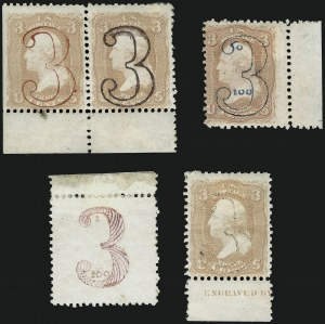 "Sale Number 909, Lot Number 1120, 1867 Essays (National Bank Note Co.)3c 1861 Issue, Numeral ""3"" Essays (65-E var), 3c 1861 Issue, Numeral ""3"" Essays (65-E var)"