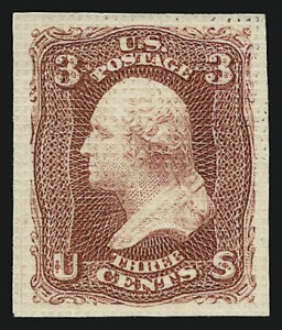 Sale Number 909, Lot Number 1125, 1867 Essays (National Bank Note Co.)National Bank Note Co., 3c Lake, All-Over Grill Essay, Points Up, Imperforate (79-E15c), National Bank Note Co., 3c Lake, All-Over Grill Essay, Points Up, Imperforate (79-E15c)