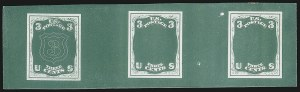 Sale Number 909, Lot Number 1131, 1867 Essays (National Bank Note Co.)National Bank Note Co., 3c Blue Green, Shield Die Essay on Thick Paper, Typographed (79-E19c), National Bank Note Co., 3c Blue Green, Shield Die Essay on Thick Paper, Typographed (79-E19c)