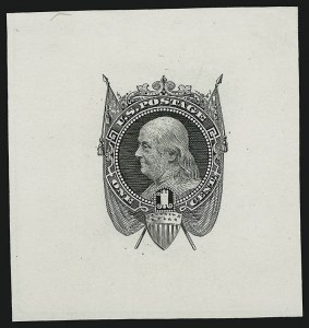 Sale Number 909, Lot Number 1154, 1869 Pictorial Issue1c Black, Die Essay on White Ivory (112-E5b), 1c Black, Die Essay on White Ivory (112-E5b)