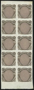 Sale Number 909, Lot Number 1202, 1869 Pictorial Issue90c Frame Only, Plate Essay on Stamp Paper (122-E3), 90c Frame Only, Plate Essay on Stamp Paper (122-E3)