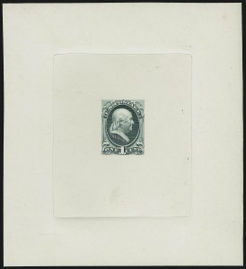 Sale Number 909, Lot Number 1223, 1870 Issue (National Bank Note Co.)National Bank Note Co., 1c Green, Franklin, Large Die Essay on India (145-E6a), National Bank Note Co., 1c Green, Franklin, Large Die Essay on India (145-E6a)