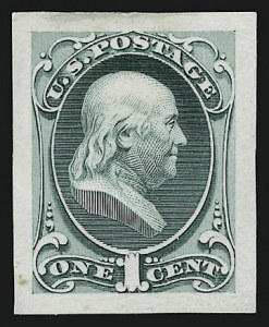 Sale Number 909, Lot Number 1224, 1870 Issue (National Bank Note Co.)National Bank Note Co., 1c Franklin, Large Die Essay on India (145-E6a), National Bank Note Co., 1c Franklin, Large Die Essay on India (145-E6a)
