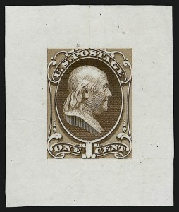 Sale Number 909, Lot Number 1226, 1870 Issue (National Bank Note Co.)National Bank Note Co., 1c Franklin, Large Die Essay on India (145-E8a), National Bank Note Co., 1c Franklin, Large Die Essay on India (145-E8a)