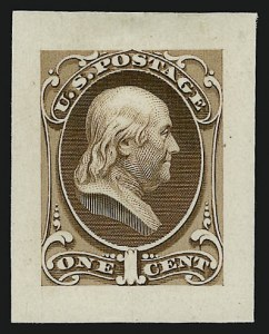 Sale Number 909, Lot Number 1227, 1870 Issue (National Bank Note Co.)National Bank Note Co., 1c Franklin, Large Die Essay on India (145-E8a), National Bank Note Co., 1c Franklin, Large Die Essay on India (145-E8a)