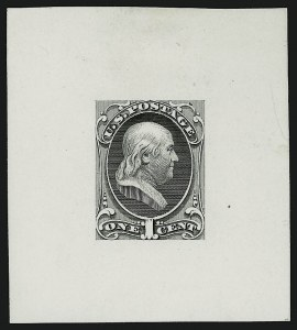 Sale Number 909, Lot Number 1228, 1870 Issue (National Bank Note Co.)National Bank Note Co., 1c Franklin, Large Die Essay on White Glazed Paper (145-E8b), National Bank Note Co., 1c Franklin, Large Die Essay on White Glazed Paper (145-E8b)