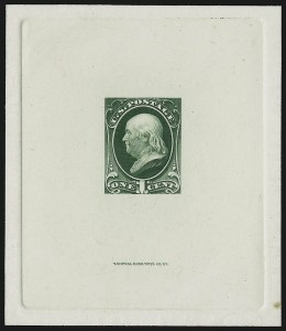 Sale Number 909, Lot Number 1231, 1870 Issue (National Bank Note Co.)1c Green, Large Die Trial Color Proof on India (156TC1), 1c Green, Large Die Trial Color Proof on India (156TC1)