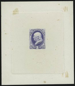 Sale Number 909, Lot Number 1232, 1870 Issue (National Bank Note Co.)1c Blue, Large Die Proof on India (145P1), 1c Blue, Large Die Proof on India (145P1)