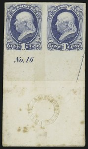 Sale Number 909, Lot Number 1234, 1870 Issue (National Bank Note Co.)1c Ultramarine, Plate Proof on India (145P3), 1c Ultramarine, Plate Proof on India (145P3)