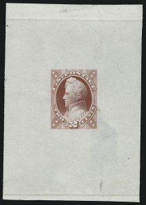 Sale Number 909, Lot Number 1237, 1870 Issue (National Bank Note Co.)National Bank Note Co., 2c Deep Rose, Jackson, Unadopted Design, Large Die Essay on India (146-E7a), National Bank Note Co., 2c Deep Rose, Jackson, Unadopted Design, Large Die Essay on India (146-E7a)