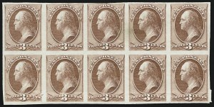 Sale Number 909, Lot Number 1243, 1870 Issue (National Bank Note Co.)3c Red Brown, Trial Color Plate Proof on India (147TC3), 3c Red Brown, Trial Color Plate Proof on India (147TC3)