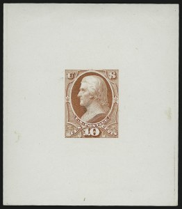 Sale Number 909, Lot Number 1256, 1870 Issue (National Bank Note Co.)10c Scarlet, Jefferson, Large Die Essay of Unadopted Design on Glazed Paper (150-E5b), 10c Scarlet, Jefferson, Large Die Essay of Unadopted Design on Glazed Paper (150-E5b)