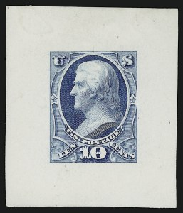 Sale Number 909, Lot Number 1257, 1870 Issue (National Bank Note Co.)National Bank Note Co., 10c Blue, Jefferson, Large Die Essay of Unadopted Design on Glazed Paper (150-E5b), National Bank Note Co., 10c Blue, Jefferson, Large Die Essay of Unadopted Design on Glazed Paper (150-E5b)