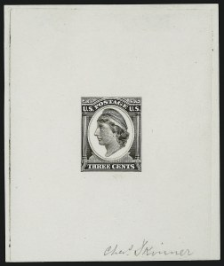 Sale Number 909, Lot Number 1309, Continental Bank Note Co.Continental Bank Note Co., 3c Black Brown, Liberty, Die Essay on White Glazed Paper (184-E11c), Continental Bank Note Co., 3c Black Brown, Liberty, Die Essay on White Glazed Paper (184-E11c)