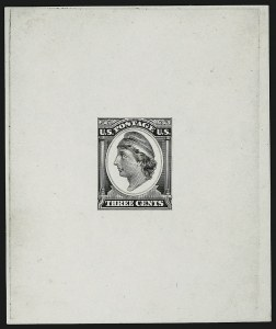 Sale Number 909, Lot Number 1310, Continental Bank Note Co.Continental Bank Note Co., 3c Liberty, Die Essay on White Glazed Paper (184-E11c), Continental Bank Note Co., 3c Liberty, Die Essay on White Glazed Paper (184-E11c)