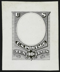 Sale Number 909, Lot Number 1344, American Bank Note Co.10c Black, Unadopted Frame, Die Essay on White Glazed Paper (209-E2c), 10c Black, Unadopted Frame, Die Essay on White Glazed Paper (209-E2c)