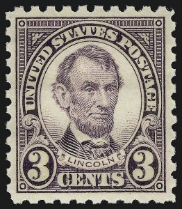 Sale Number 910, Lot Number 111, 1922 and Later Issues (Scott 578 to 594)3c Violet, Perf 10 (584), 3c Violet, Perf 10 (584)