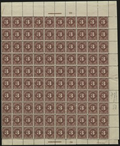 Sale Number 913, Lot Number 1000, Complete Sheets and Panes3c Deep Claret, Postage Due (J40), 3c Deep Claret, Postage Due (J40)