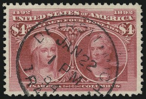 Sale Number 913, Lot Number 787, 1893 Columbian Issue$4.00 Columbian (244), $4.00 Columbian (244)