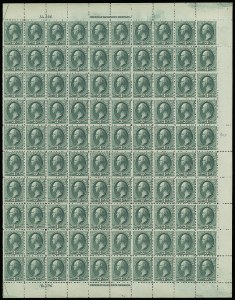 Sale Number 913, Lot Number 965, Complete Sheets and Panes3c Blue Green (207), 3c Blue Green (207)