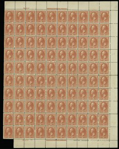 Sale Number 913, Lot Number 966, Complete Sheets and Panes3c Vermilion (214), 3c Vermilion (214)