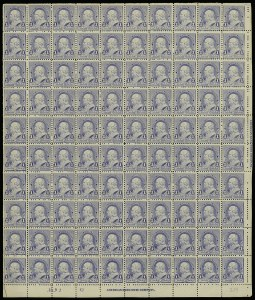 Sale Number 913, Lot Number 968, Complete Sheets and Panes1c Dull Blue (219), 1c Dull Blue (219)