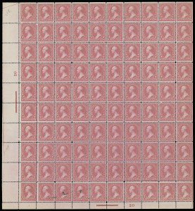 Sale Number 913, Lot Number 976, Complete Sheets and Panes2c Pink, Ty. I (248), 2c Pink, Ty. I (248)