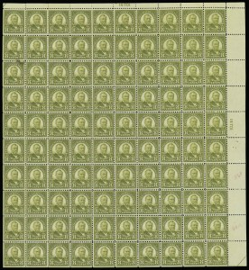 Sale Number 913, Lot Number 992, Complete Sheets and Panes8c Olive Green (560), 8c Olive Green (560)