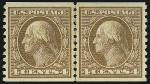 Sale Number 914, Lot Number 1726, 1912-23 Issues (Scott 491 to 519)4c Orange Brown, Coil (495), 4c Orange Brown, Coil (495)