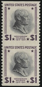Sale Number 914, Lot Number 1937, 1922-29 and Later Issues (Scott 617 to 834)$1.00 Presidential, Vertical Pair, Imperforate Horizontally (832a), $1.00 Presidential, Vertical Pair, Imperforate Horizontally (832a)