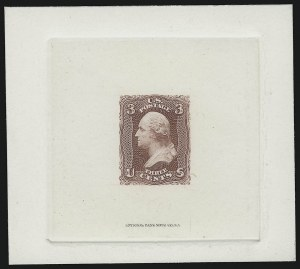 Sale Number 914, Lot Number 348, 1861-66 Issue3c Dark Rose, Large Die Trial Color Proof on India (65TC1), 3c Dark Rose, Large Die Trial Color Proof on India (65TC1)