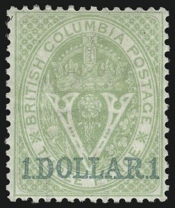 Sale Number 916, Lot Number 4519, British Columbia and Vancouver Island1867, $1.00 on 3p Green (13), 1867, $1.00 on 3p Green (13)