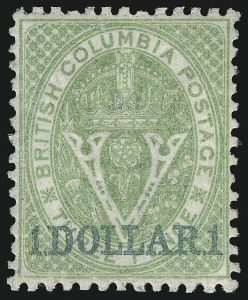 Sale Number 916, Lot Number 4524, British Columbia and Vancouver Island1869, $1.00 on 3p Green (18), 1869, $1.00 on 3p Green (18)