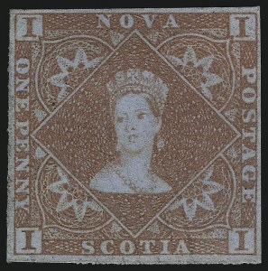 Sale Number 916, Lot Number 4543, Nova Scotia and Prince Edward Island1853, 1p Red Brown (1; SG 1), 1853, 1p Red Brown (1; SG 1)