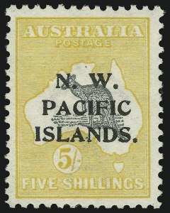 Sale Number 917, Lot Number 349, North West Pacific Islands thru Prince Edward Island1916, 5sh Yellow & Gray (8; SG 83), 1916, 5sh Yellow & Gray (8; SG 83)