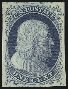 Sale Number 918, Lot Number 3, 1851-56 Issue1c Blue, Ty. II (7), 1c Blue, Ty. II (7)