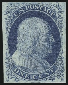 Sale Number 918, Lot Number 6, 1851-56 Issue1c Blue, Ty. IV (9), 1c Blue, Ty. IV (9)