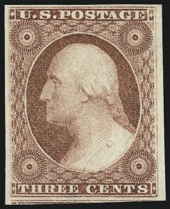 Sale Number 918, Lot Number 8, 1851-56 Issue3c Claret, Extra Vertical Frameline at Left (11 var), 3c Claret, Extra Vertical Frameline at Left (11 var)