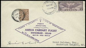 Sale Number 920, Lot Number 257, Air Post (see also lot 292)1932, May 20 -- Earhart Transatlantic Solo Flight, Newfoundland to Ireland (AAMC 1165), 1932, May 20 -- Earhart Transatlantic Solo Flight, Newfoundland to Ireland (AAMC 1165)