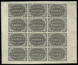 Sale Number 920, Lot Number 7, PostmastersProvidence R.I., 5c & 10c Gray Black, Se-Tenant (10X2a), Providence R.I., 5c & 10c Gray Black, Se-Tenant (10X2a)
