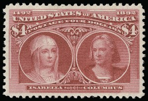 Sale Number 921, Lot Number 565, 1893 Columbian Issue$4.00 Columbian (244), $4.00 Columbian (244)