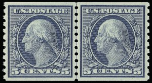Sale Number 921, Lot Number 695, Washington-Franklin Issues (continued)5c Blue, Coil (496), 5c Blue, Coil (496)