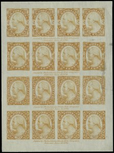 Sale Number 922, Lot Number 1009, EssaysPhiladelphia Bank Note Co., 2c-30c Washington, Plate Essay on Old Glazed Paper (183-E2d), Philadelphia Bank Note Co., 2c-30c Washington, Plate Essay on Old Glazed Paper (183-E2d)