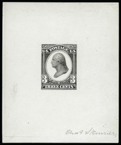 Sale Number 922, Lot Number 1020, EssaysContinental Bank Note Co., 3c Washington, Die Essay on White Glazed Paper (184-E13b), Continental Bank Note Co., 3c Washington, Die Essay on White Glazed Paper (184-E13b)