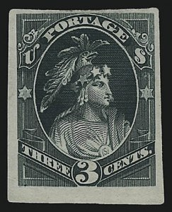 Sale Number 922, Lot Number 1022, EssaysContinental Bank Note Co., 3c Dark Green, Indian Maiden, Die Essay on India (184-E15a), Continental Bank Note Co., 3c Dark Green, Indian Maiden, Die Essay on India (184-E15a)