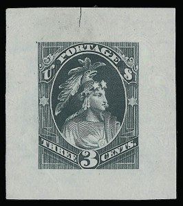 Sale Number 922, Lot Number 1023, EssaysContinental Bank Note Co., 3c Indian Maiden, Dull Green, Continental Die Essay on Proof Paper (184-E15b), Continental Bank Note Co., 3c Indian Maiden, Dull Green, Continental Die Essay on Proof Paper (184-E15b)