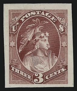 Sale Number 922, Lot Number 1024, EssaysContinental Bank Note Co., 3c Scarlet, Indian Maiden, Continental Die Essay on India (184-E16), Continental Bank Note Co., 3c Scarlet, Indian Maiden, Continental Die Essay on India (184-E16)