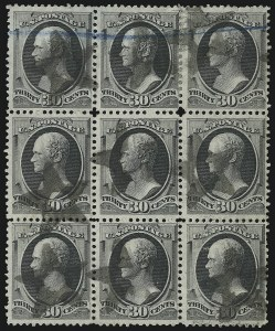 Sale Number 922, Lot Number 1085, 1870-88 Issue Multiples30c Gray Black (165), 30c Gray Black (165)