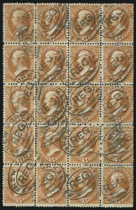 Sale Number 922, Lot Number 1088, 1870-88 Issue Multiples15c Red Orange (189), 15c Red Orange (189)